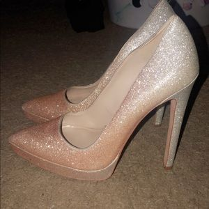 silver and rose gold ombré heels